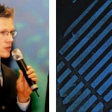 Rechts: Nachwuchswissenschaftler Sven Knecht bei der Preisverleihung in Duisburg.; Links: Mittels Mikrokontaktstempeln wurde diese mikrostrukturierte Nanopartikelschicht auf einen aktivierten Siliziumwafer übertragen.