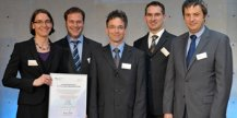 V.l.: Dr. Karin Lemuth (IGVT), Dr. Jan Weile (Robert-Bosch Krankenhaus, Stuttgart), Dr. Ulf Steller (Euroimmun, Lübeck), Dr. Markus Cavalar (Euroimmun, Lübeck), RD Peter Hassenbach (BMBF).