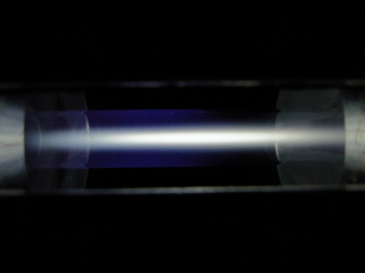 A free-standing CO2 plasma in a microwave plasma torch.