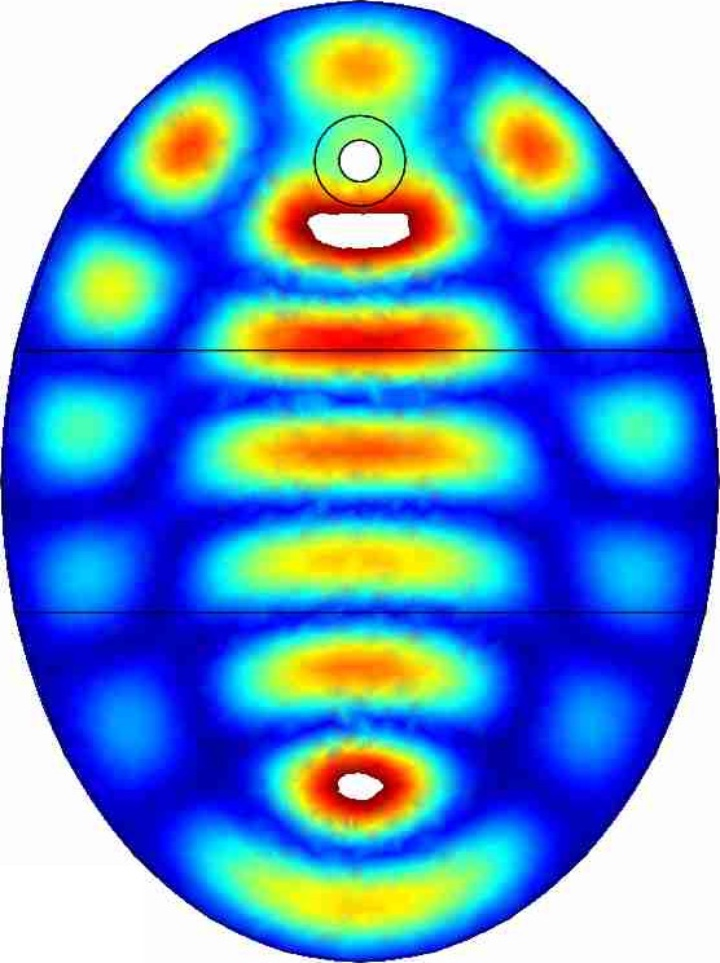 Electric field distribution inside of an elliptical resonator. (c)