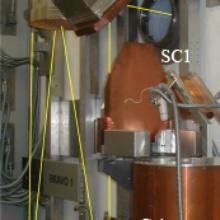 Abb. 1: Anpass-Optik für die Einkopplung des Ausgangsstrahls eines Gyrotrons in den Vielstrahl-Wellenleiter, bestehend aus den Anpassspiegeln M1, M2, den Polarisatoren P1 und P2. Im Vordergrund ein Kalorimeter für 1 MW zur Messung der Gyrotron-Leistung.